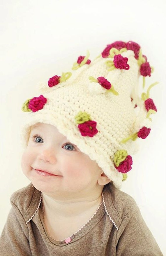 Cascading Flowers Hat Crochet pattern pdf 658 for infants to adults permission to sell finished product