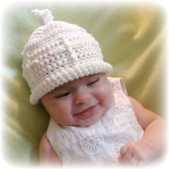 Christening or Dedication Beanie for infants digital crochet pattern 671 permission to sell finished items