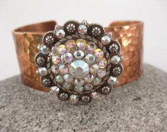 Made to fit you Swarovski Crystal Concho Hammered Copper Cuff.  Free shipping to US locations, reduced rates to all other countries.