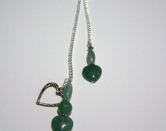 Heart Green Aventurine Booklace Bookmark
