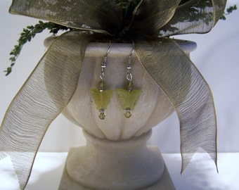 Olive Jade Butterfly Earrings