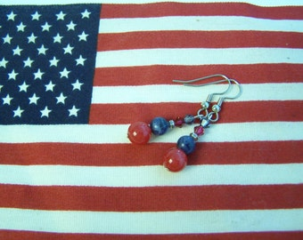 Patriotic Red & Blue Dangle Earrings