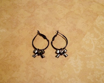 Black Bow Hoop Earrings