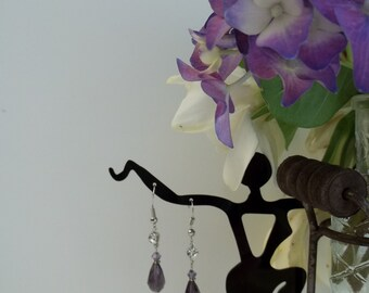 Violet Crystal Teardrop Earrings