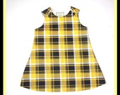 Sale Toddler Dress Size 4T Black and Yellow Aline Plaid Ready to Ship