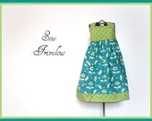 Sale Toddler Dress 3T Reverse Knot Bow Dress Aqua and Green Ready to Ship
