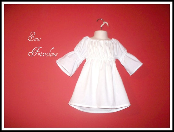 Girls White Peasant Top with 3/4 length Sleeves Sizes 1T 2T 3T 4T 5T 6T