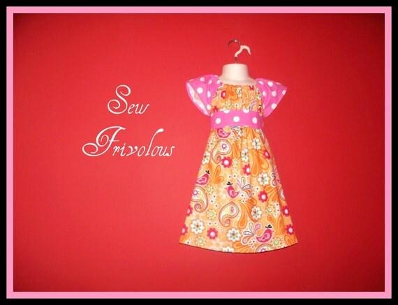 Toddler Dress Peasant Orange and Pink Polka Dot11T 2T 3T 4T 5t