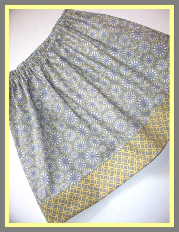 Toddler Twirl Skirt Size NB 6M 12M 18M 2T 3T 4 5T Gray and Mustard Yellow