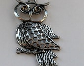 Silver Tone Owl Charm can hold two rhinestones