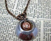 Sparkling Swirl Hand Stamped Copper and Aluminum Pendant Necklace