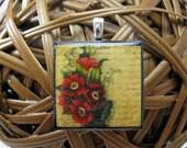 Romantic Vintage Floral Wood Tile Pendant  Sale BUY 3 Get ONE FREE