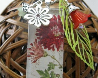 Burgundy Zinnia Rectangle Glass Tile Cluster Necklace