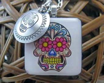 White Sugar Skull Handstamped Aluminum and Wood Tile Pendant Necklace
