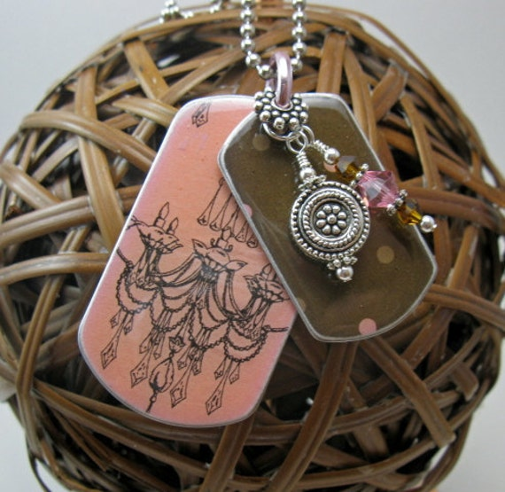 Teenage Girl Jewelry, Women's Jewelry, Teen Girl Gift, Gift for Her, Womens Dog Tag Necklace Pink Chandelier Layered Dog Tag Necklace