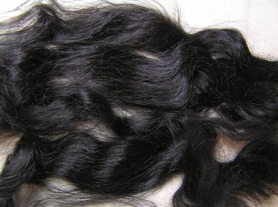 "Suri Alpaca, Washed, Combed, Natural True Black, 9"" Average Locks, Doll Hair"