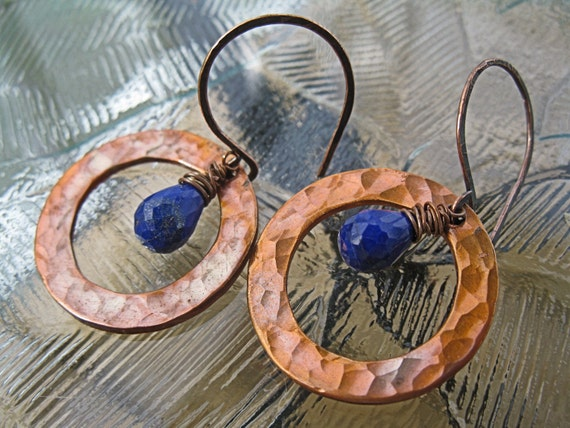 Sea Drops Lapis Lazuli and Copper Artisan Earrings