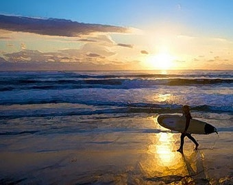 Surfer Sunset - ACEO print of digital painting by Debrosi