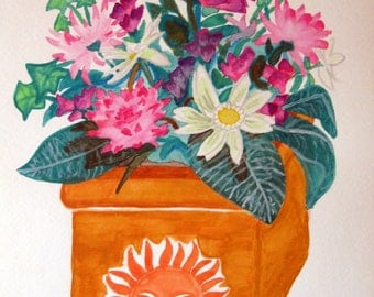 Sun Planter - watercolor painting - ACEO print