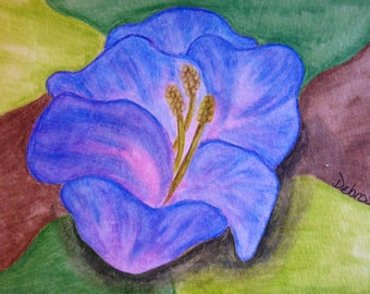 Blue Flower - ACEO print of watercolor painting