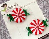 Peppermint Hair Bow Set--Christmas Hair Clips--Pigtail Set