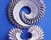 Vintage Swirl Brooch and Earrings Silvertone