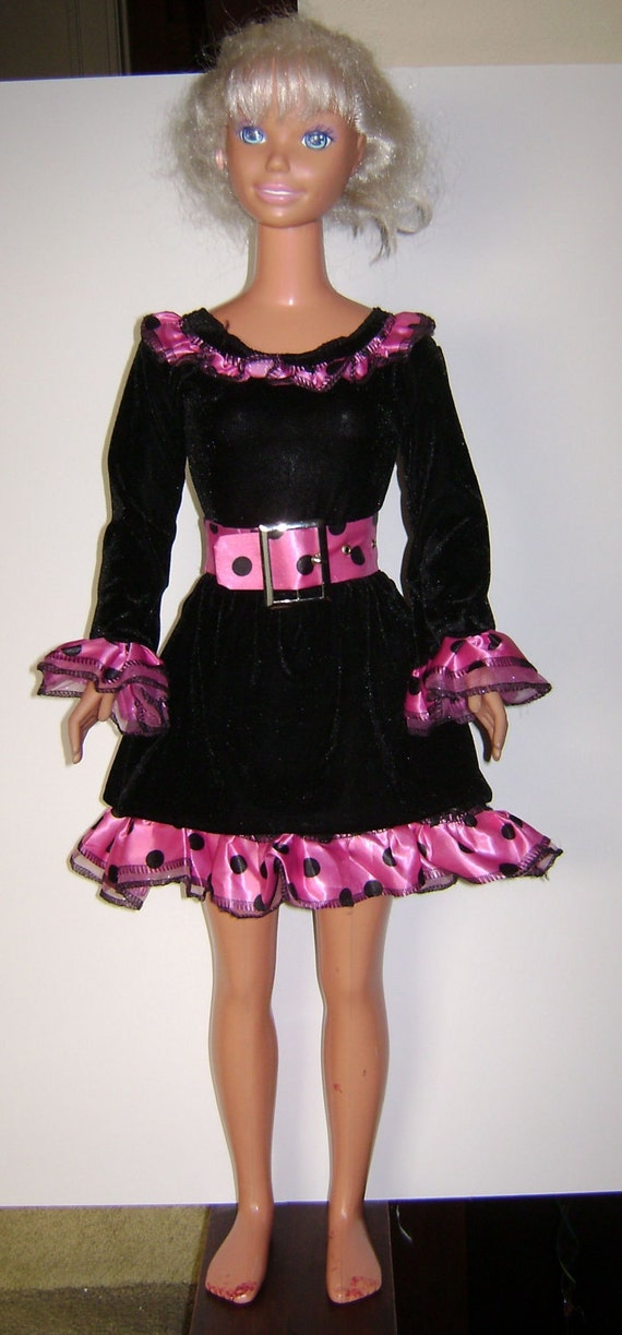 My Size Barbie Cute Black Cat Costume w/ Pink & Black Trim - 3 pieces