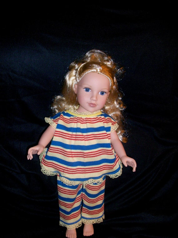 18 Inch Doll Clothes American Girl Striped Soft Knit Pajamas with Yellow Lace Trim