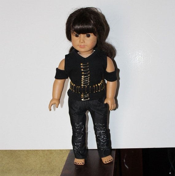 18 Inch Doll Clothes American Girl Cold Shoulder Tee with Brass Safety Pins and Black Destroyed Skinny Jeans