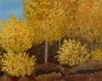 Aspens II  Original Oil Painting Landscape on Stretched Canvas 18X24