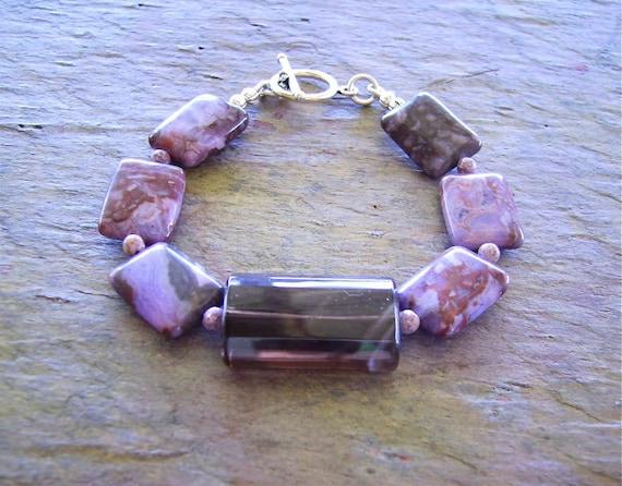 Colorful Earthy Gemstone Bracelet .. Faceted Smokey Quartz .. Sterling Silver .. Purple Jasper .. Light .. Summer Fun .. Cool ..