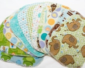 Sweet Bobbins Cloth Wipes - Gender Neutral Mixed Print Starter Set - 12 wipes - flannel and OBV - SOFT - 6x8 size