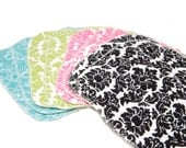 Damask Set - Set of 12 wipes - flannel and OBV - SOFT - 6x8 size