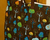 18x22 Sweet Bobbins Hanging Wet Bag - Autumn Birds and Trees Brown-  SEAM SEALED - Heavy Duty
