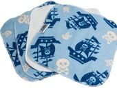 Pirate Ships- Set of 4 wipes - flannel and OBV - SOFT - 8x8 size
