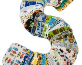 Sweet Bobbins Cloth Wipes - Boys Mixed Print Starter Set - 12 wipes - flannel and OBV - SOFT - 6x8 size