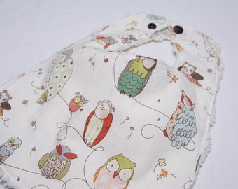 Owl - Infant or Toddler Bib - Terry Cloth Backing - Reversible with ADJUSTABLE Snaps