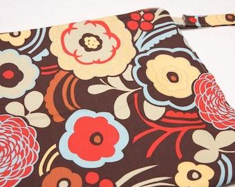 Mocha Flowers -14x14 Sweet Bobbins Wet Bag - SEAM SEALED - Snap Strap