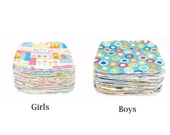 Sweet Bobbins Cloth Wipes Starter Set of 8 wipes - OBV and Flannel - 8x8