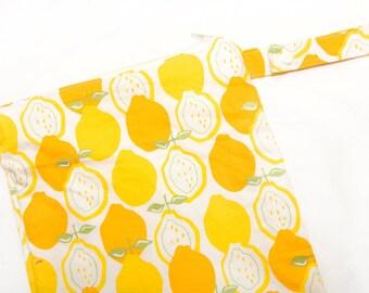 Lemons- 12x12 Sweet Bobbins Wet Bag - SEAM SEALED - Snap Strap