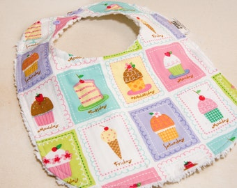 A Cupcake for Everyday - Infant or Toddler Bib - ADJUSTABLE snaps - REVERSIBLE