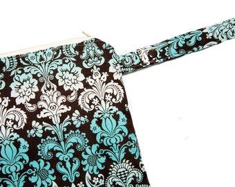 Turquoise Damask - Sweet Bobbins Wet Bag - SEAM SEALED - Snap Strap - Boutique Quality