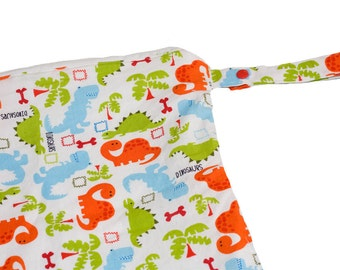 Dinosaur Dinosaur - 10x10 Sweet Bobbins Wet Bag - SEAM SEALED - Snap Strap - Boutique Quality