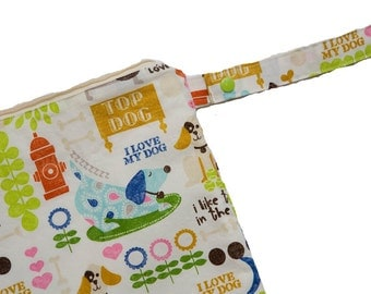 Puppy Love- 10x10 Sweet Bobbins Wet Bag - SEAM SEALED - Snap Strap - Boutique Quality