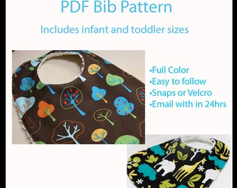 PATTERN - Boutique Bib pattern - Infant and Toddler sizes - Generous sizes - PDF -