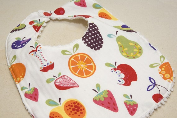 Willow Orchard - Infant or Toddler Bib - Terry Cloth Backing - Reversible with ADJUSTABLE Snaps