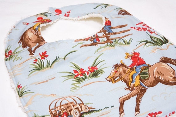 Cowboy - Infant or Toddler Bib - REVERSIBLE plus ADJUSTABLE snaps