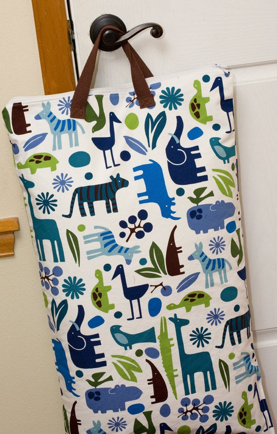 X-Large Sweet Bobbins Hanging Wet Bag - 16x27 - 2D Zoo Pool in Heavy Duty Canvas - SEAM SEALED