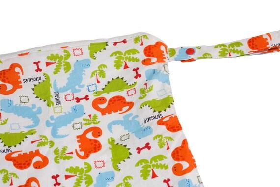 Dinosaur Dinosaur - 14x14 Sweet Bobbins Wet Bag - SEAM SEALED - Snap Strap - Boutique Quality