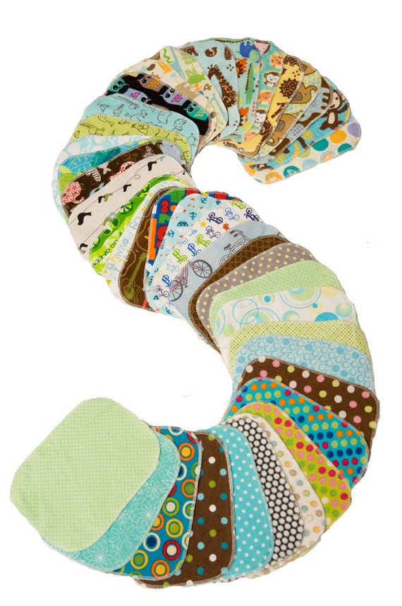 Sweet Bobbins Cloth Wipes -Gender Neutral Mixed Print Starter Set - 12 wipes - flannel and OBV - SOFT - 6x8 size
